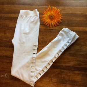 Pants - White Leggings with Cutout Sides